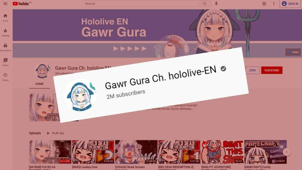 Gawr Gura of Hololive English reaches 2 million subscribers on YouTube