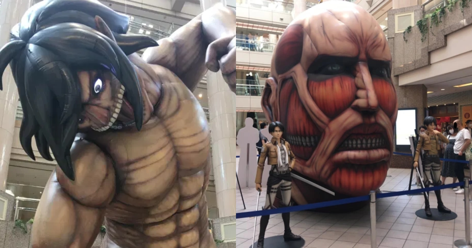 Attack on Titan Statues at a Shopping Mall