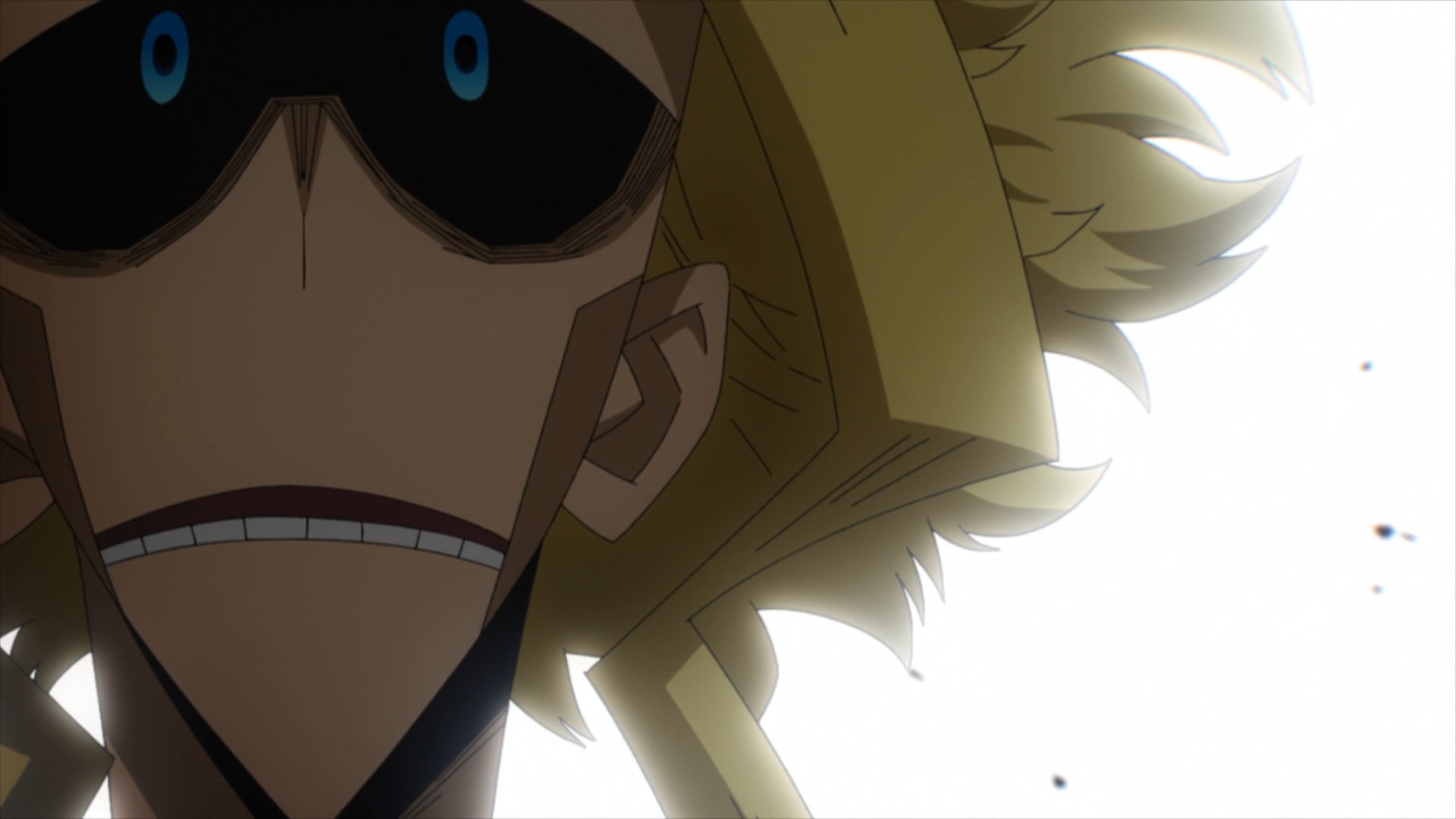 All Might is shocked from Bakugo saving his teammates.