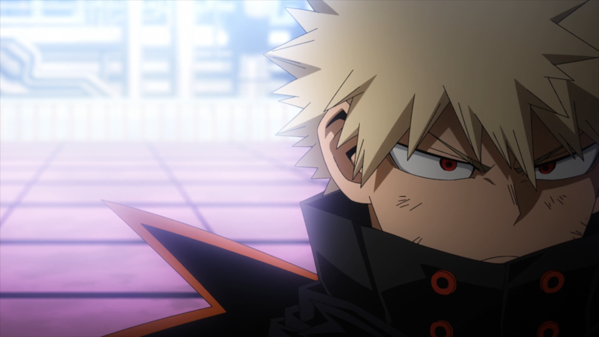 Bakugo walking away after leading his team to a flawless victory.
