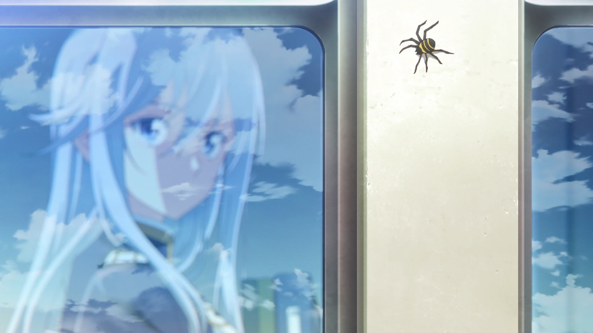Lena looking out the window with a spider near the she cannot see.