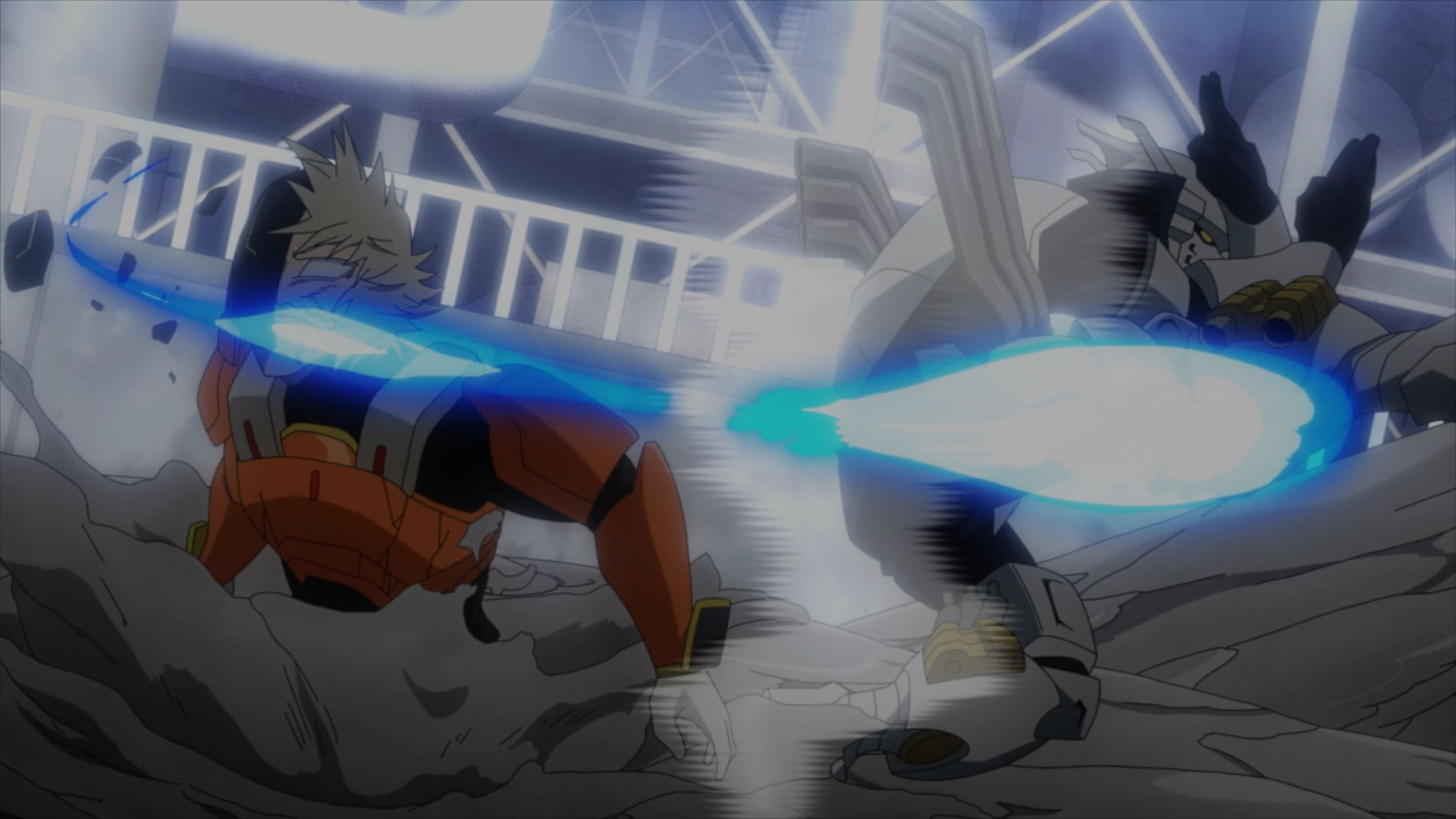 Iida lands an epic kick to Juzo's head just in time to safe Shoto.